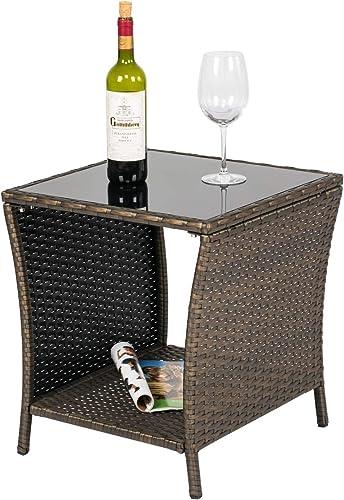Kinsuite Wicker Coffee Table Patio PE Rattan Side Table