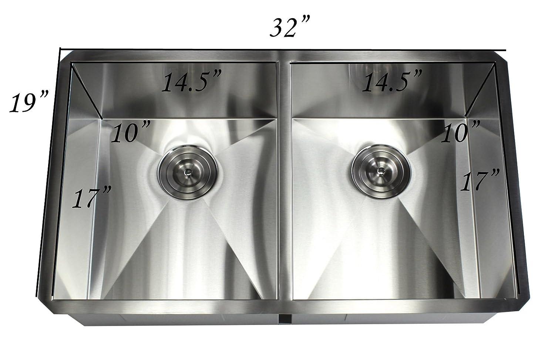stainless steel double  bowl  gauge undermount kitchen  -
