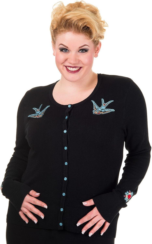 taglie forti rockabilly/nero Banned stile anni 50 cardigan/nero da donna con rondini blu in maglia fine