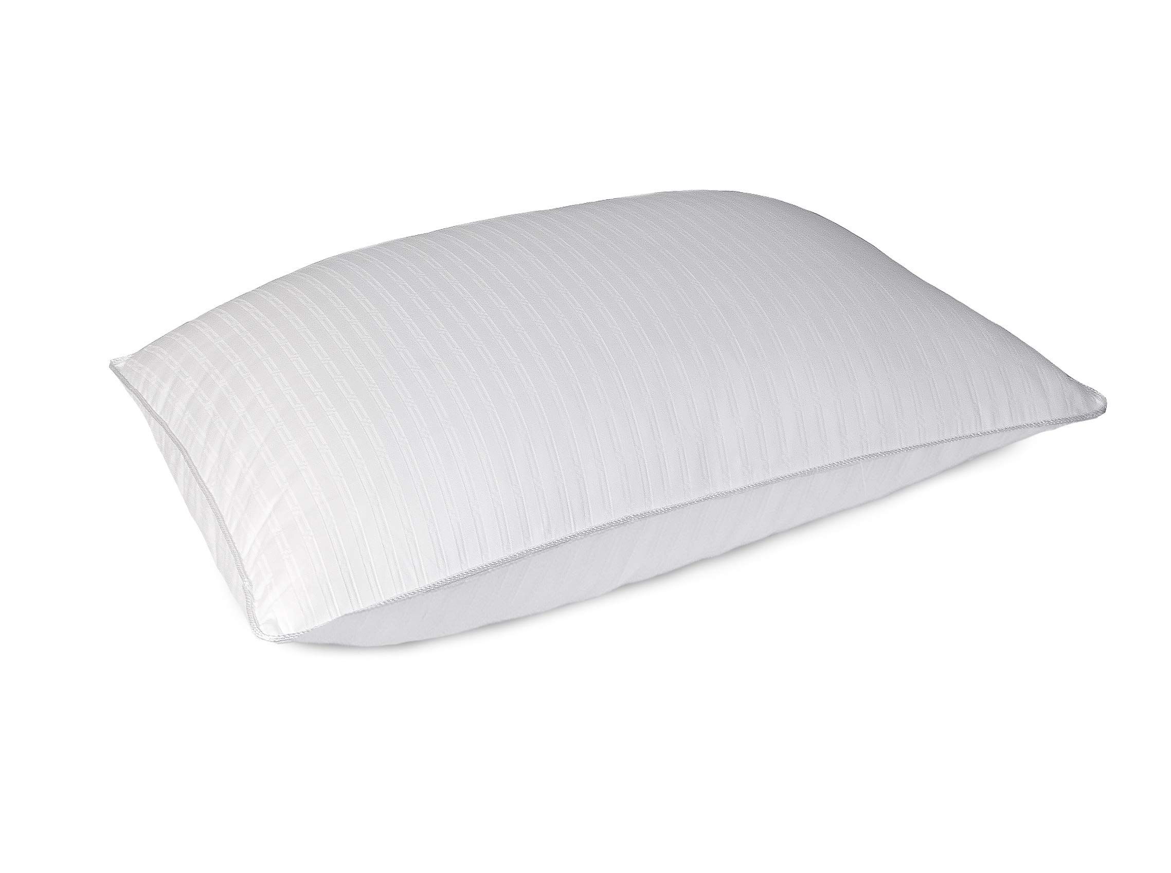 Blue Ridge Home Fashions 500 Thread Count Dot Pattern Hybrid Blend (Natural Down and Feather) Double Cover Pillow - Single Pack, Standard, White