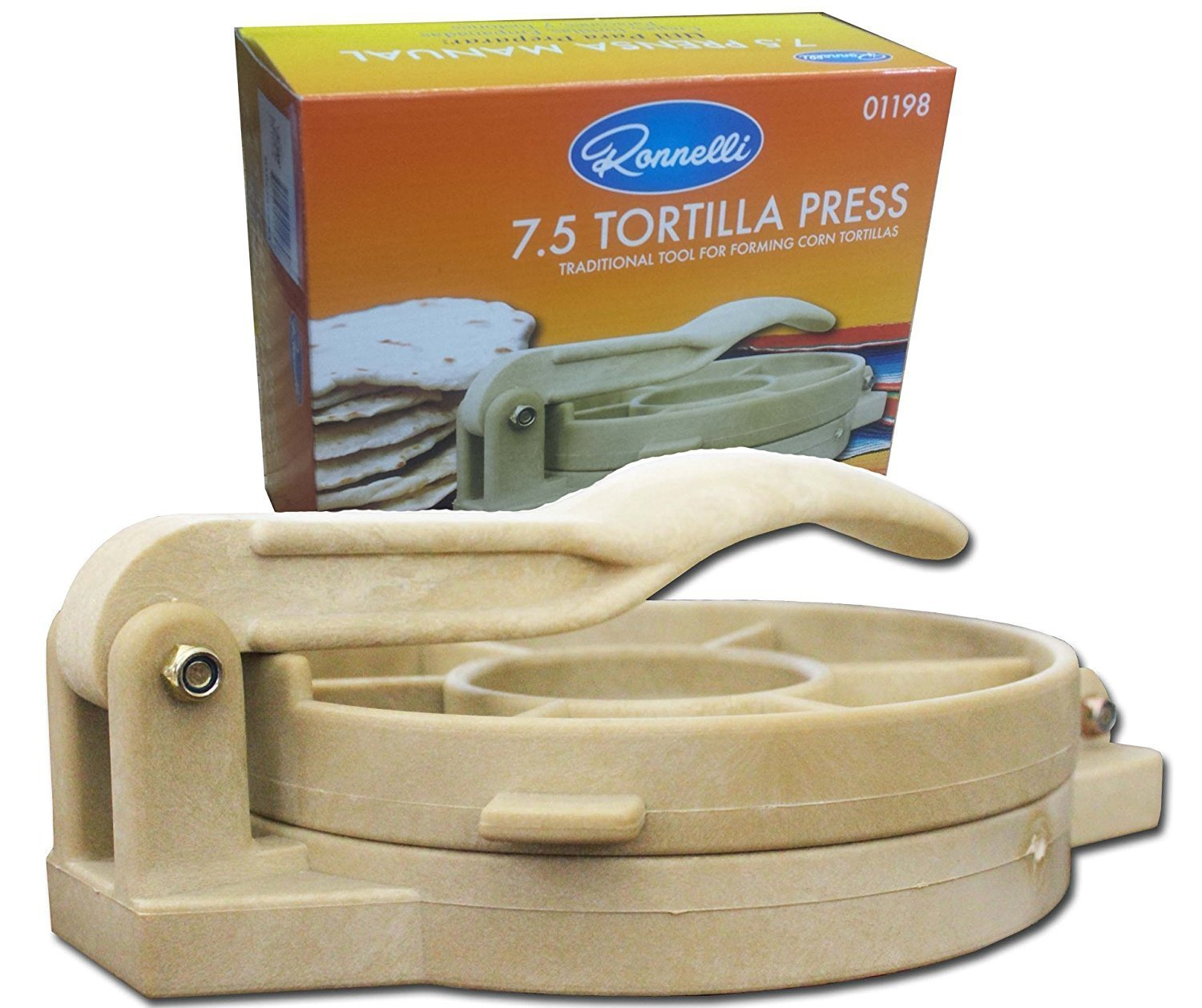 7.5 inches Tortilla Press Heavy Duty Plastic Authentic Tortilla Maker Corn Tortilla Machine by Ronelli