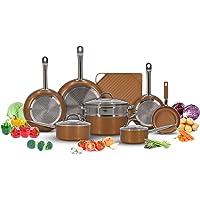 Copper Cookware Pots and Pans Set with Non-Stick Griddle (13-Piece)