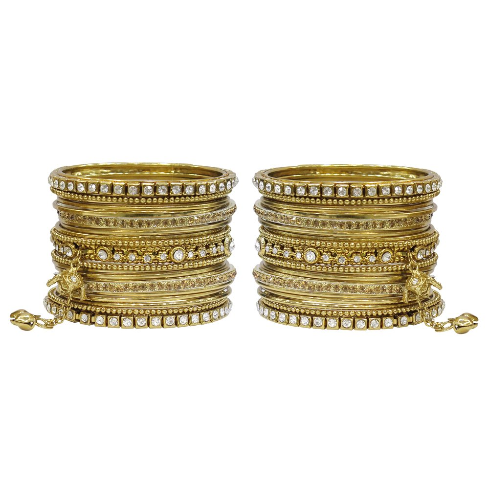 MUCHMORE Ethnic Gorgeous Antique Gold Tone Indian Bangles Party Wear Jewelry MB-73