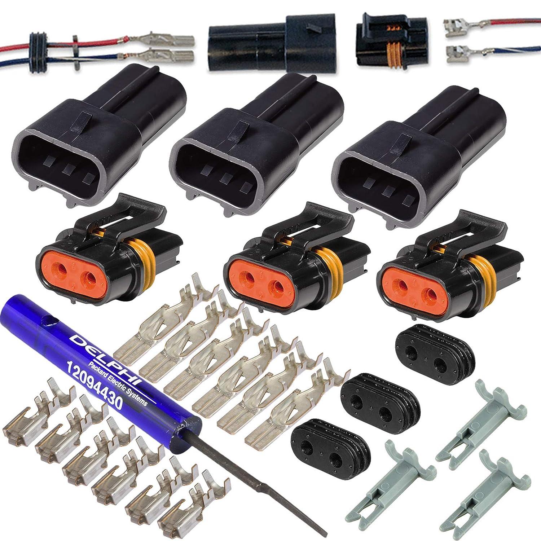 2 Pin Delphi Metri-Pack Waterproof Connector 10-12awg,46Amp 10-12 GA-3 Set w//Remove Tool
