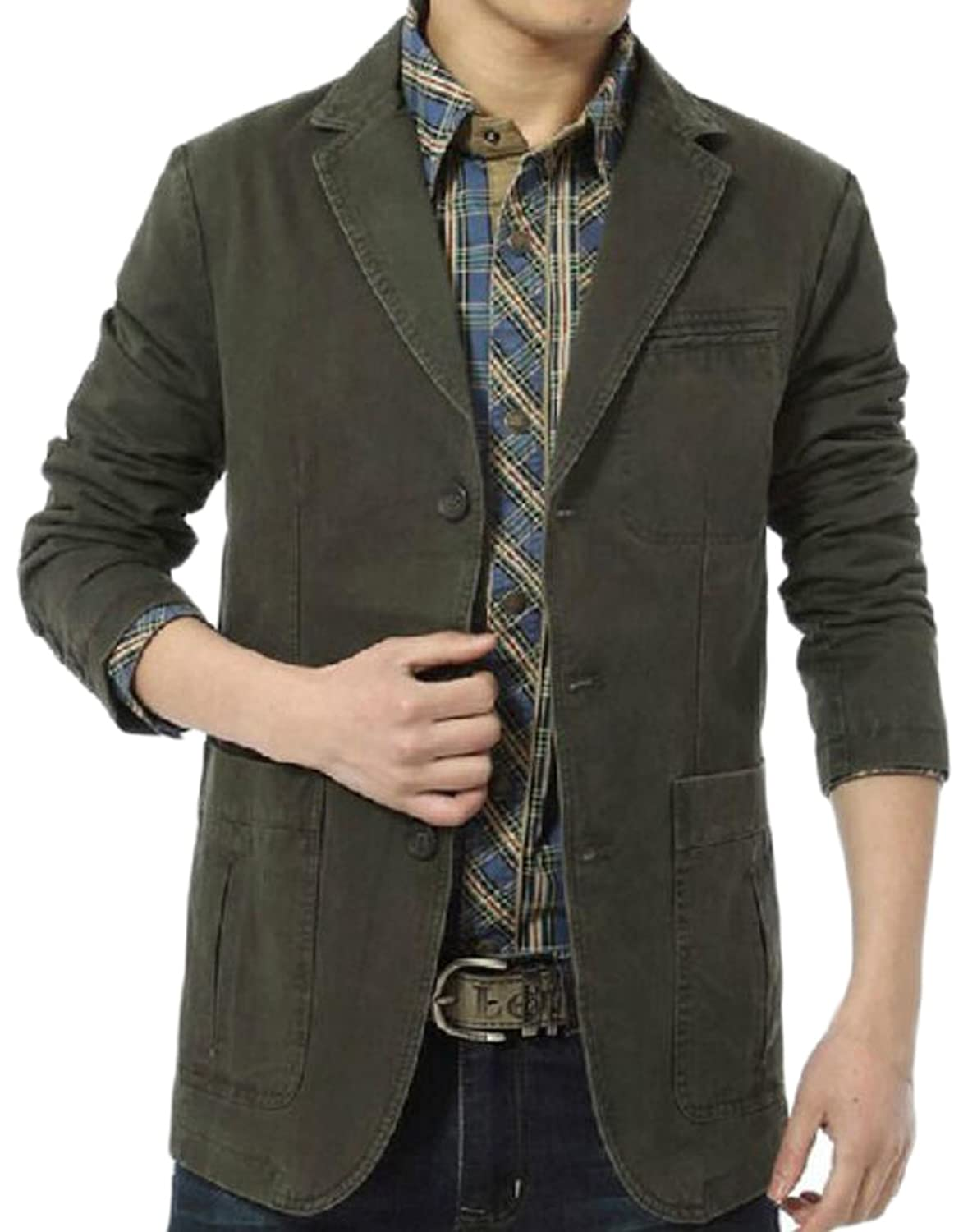 free shipping Vska Men s Midweight Cotton Button Closure Blazers Jacket 5ce743b5c