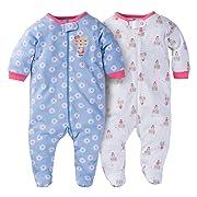 Gerber Baby Girls 2 Pack Zip Front Sleep n Play, Birdie, -3 Months (0-3 Months, Bear Hugs)