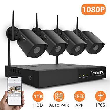Firstrend 8CH 1080P Security Camera System Wireless with 4pcs HD Security Camera and 1TB Hard Drive Pre-installed,P2P Home Video Surveillance System[Black]