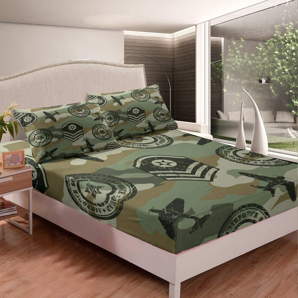 Feelyou Camouflage Bedding Set Boys Teens 3D Aircraft Printed Bed Sheet Set Kids Military Hidden Fitted Sheet Fighter Airplane Bed Cover,Room Decor 2Pcs Sheets Twin Size