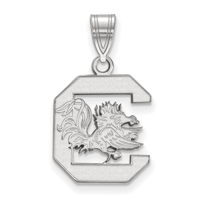 925 Sterling Silver Rhodium-plated Laser-cut University of South Carolina Medium Pendant