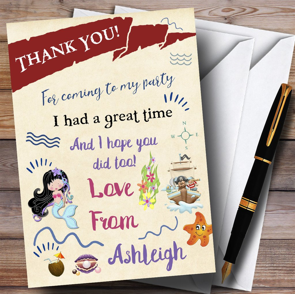 Party Thank You Cards Mermaid & Pirate Sea Party With Envelopes - Any Custom Text For Any occasion