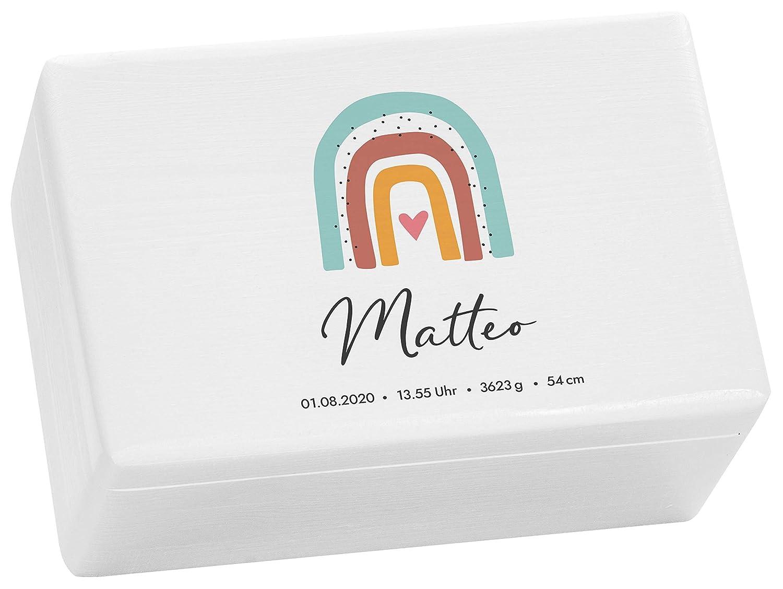 Holzkiste Wei/ß Geschenk zur Geburt LAUBLUST Erinnerungsbox Baby Personalisiert 30x20x14cm Serie: Regenbogen