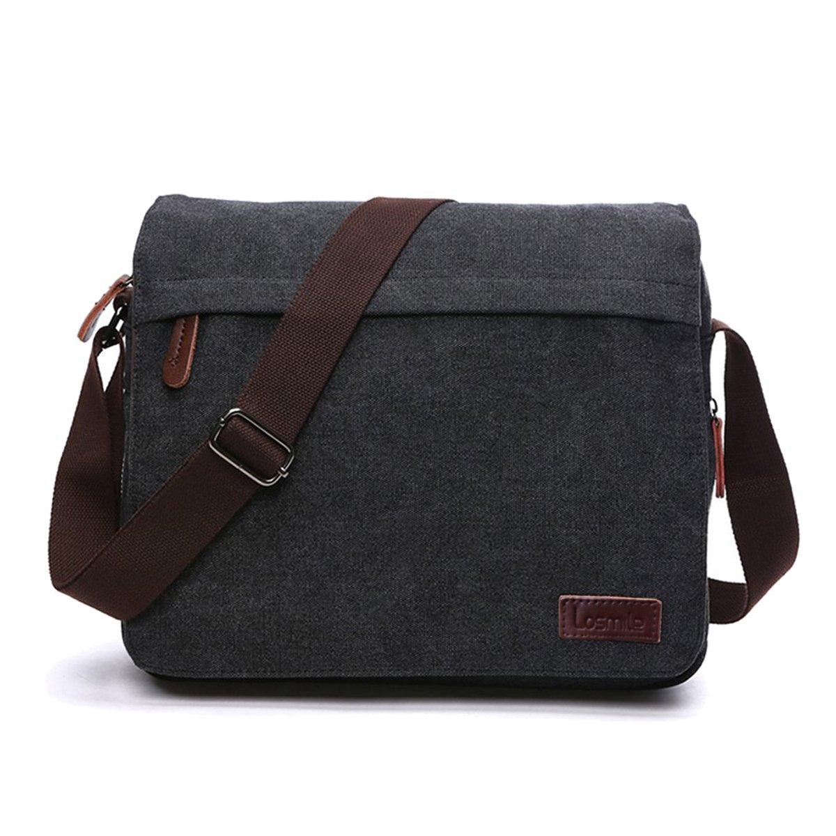 93f69db22 LOSMILE Men's Messenger Bag, Canvas Shoulder Bags, 13.3