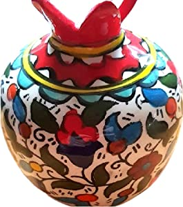 Pomegranate Armenian Ceramic Vase for Flowers Red Decor Israel Ceramic Jewish Home Blessing. Judaica Gifts for tthe Home.