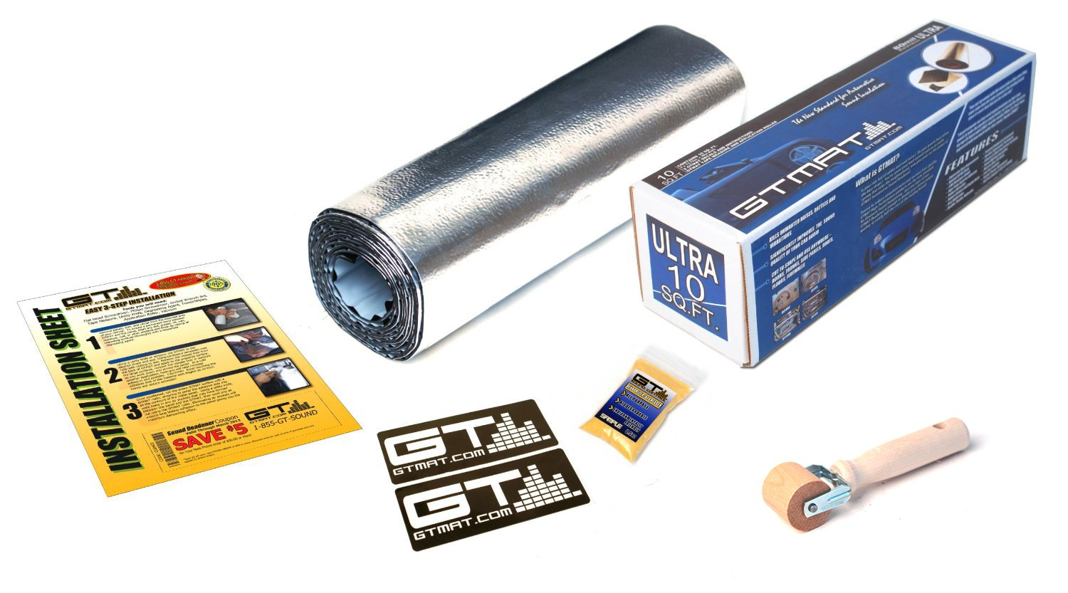 GTMAT 10 sqft Automotive Audio Dampening 80mil ULTRA - Noise Reduction Installation Kit Includes: 10sqft (qty 1 - 1ft X 10ft roll), Instruction Sheet, Application Roller, Degreaser, GT MAT Decals