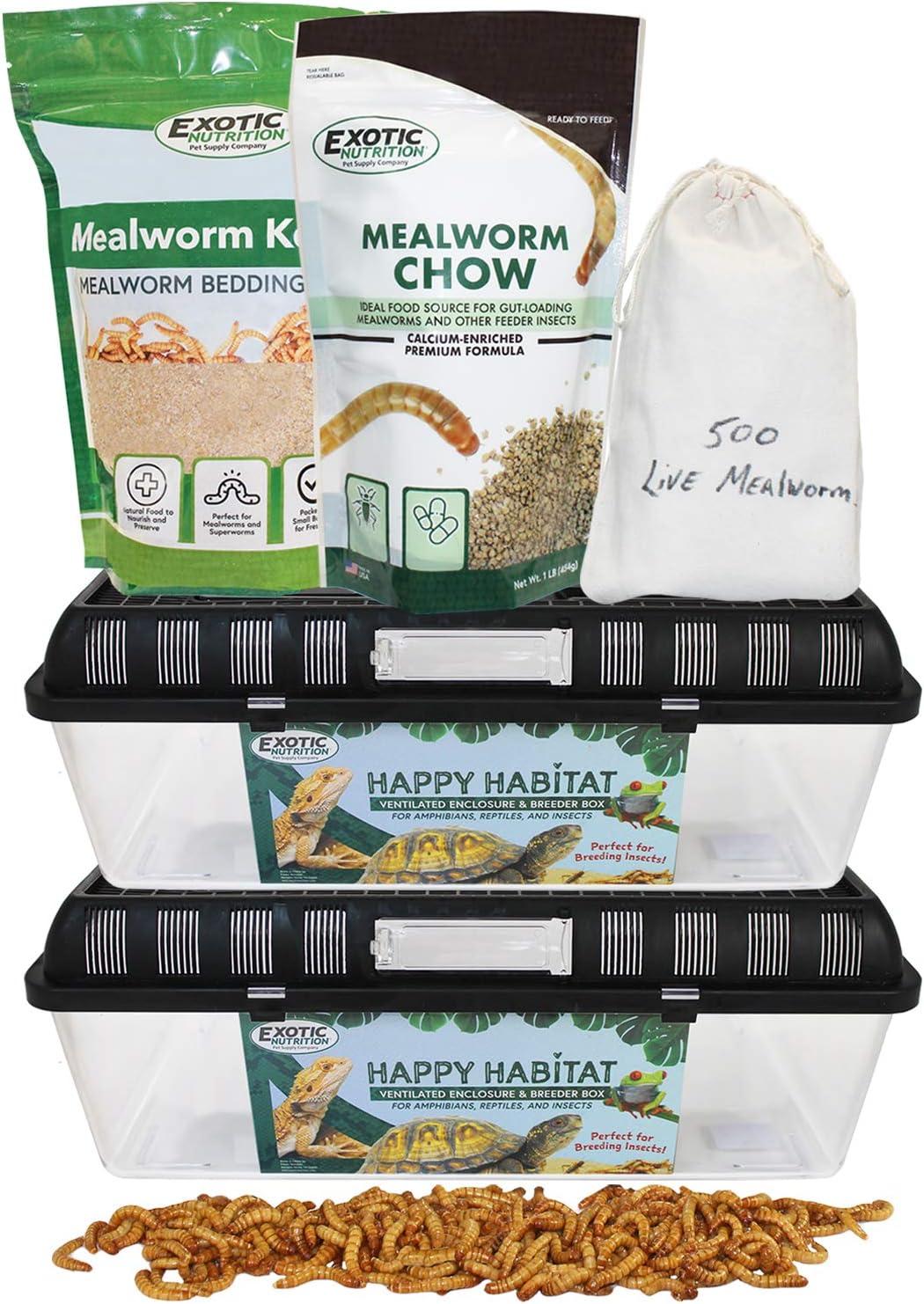 Mealworm Breeder Kit - Breed Live Feeder Worms for Hedgehogs, Sugar Gliders, Reptiles, Wild Birds, Chickens, Lizards, Bearded Dragon, Skunks, Opossum, Fish, Turtles, Tortoises, Geckos
