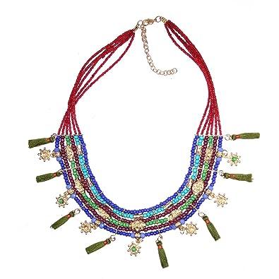 5321797256e7 Collar largo de cuentas multicolor con borla de Gargantilla Estilo Joyería  Tribal Boho Gitana Kuchi Joyería para las mujeres de  Amazon.es  Joyería