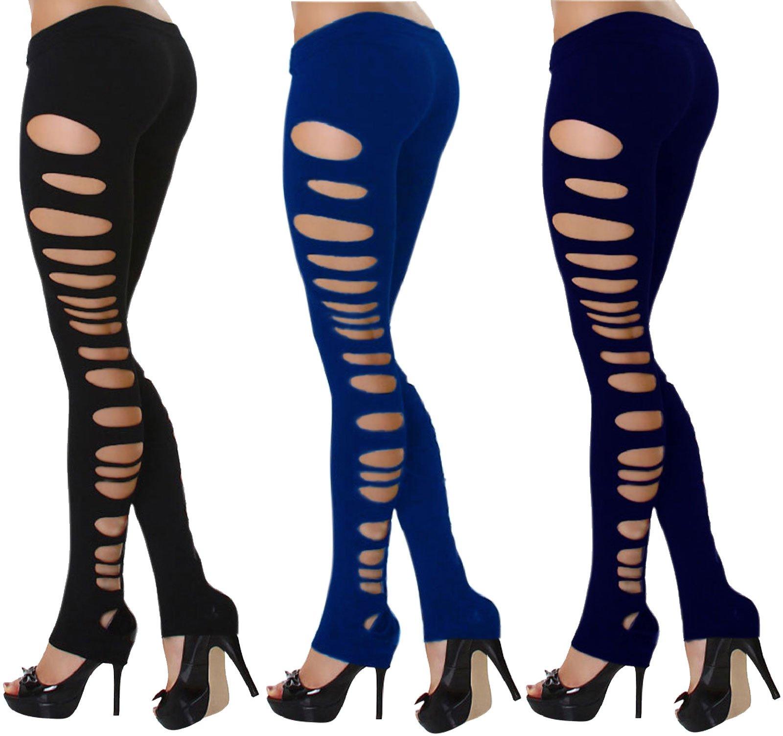 J.Ann Women's 6-Pack Fashion Sides Ripped Footless (2 Black, 2 Royal Blue, 2 Navy)