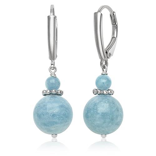 Sterling Silver Natural Milky Aquamarine Beaded Gemstone Drop Dangle Earrings
