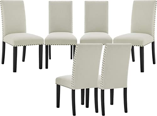 High Back Dining Chairs Set of 6 Parsons Dining Chairs Armless Hight Chairs Upholstered Chairs Padding