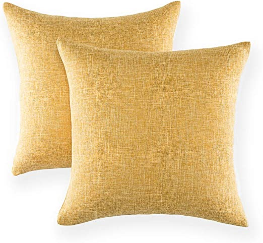 18/'/' Cotton linen yellow throw cushions cover for sofa chair decorative pillows