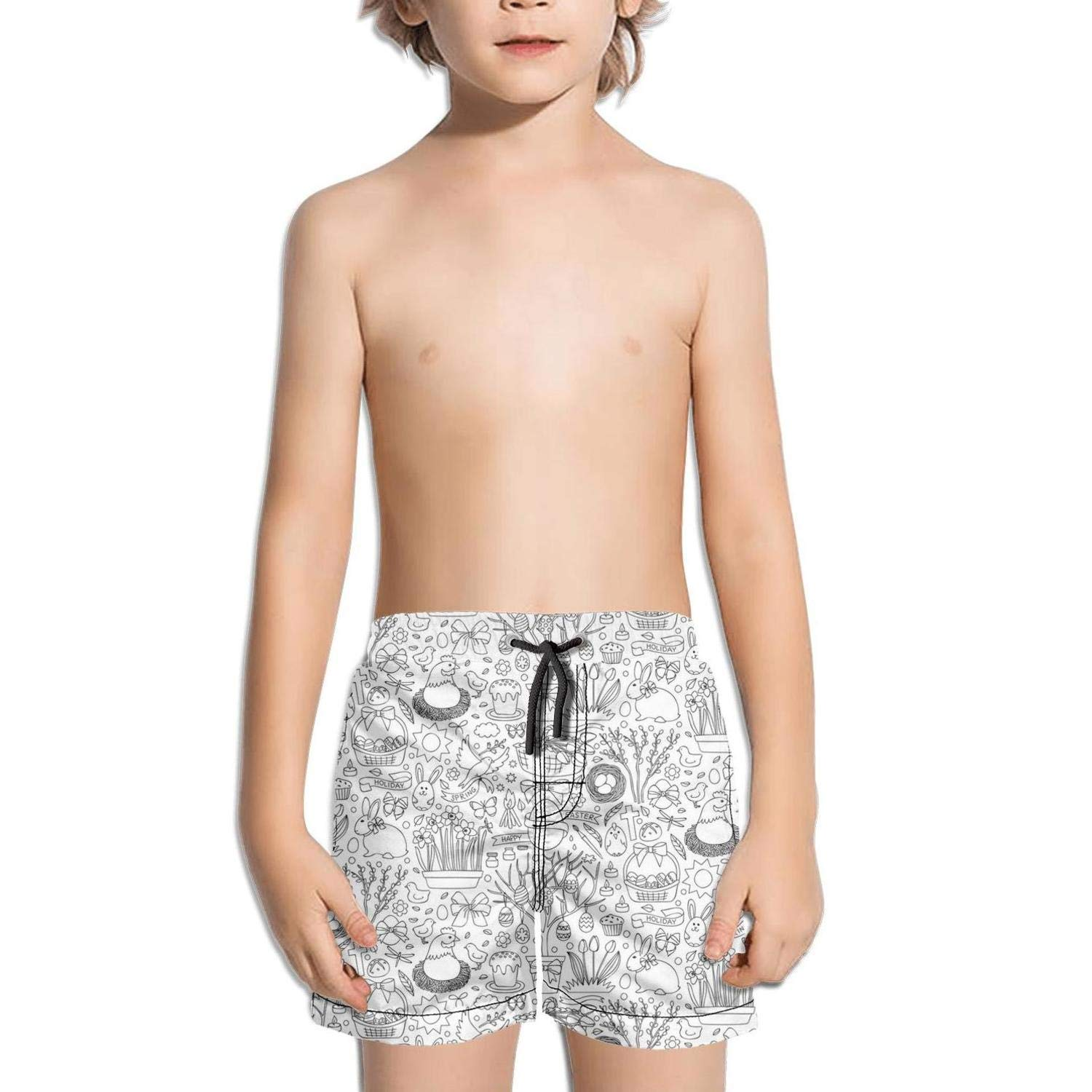 SGZVASDVFXF Flowers Black Easter Eggs Flowers Swimming Trunks Boys Beach Stretch Board Adjustable Shorts with Pockets