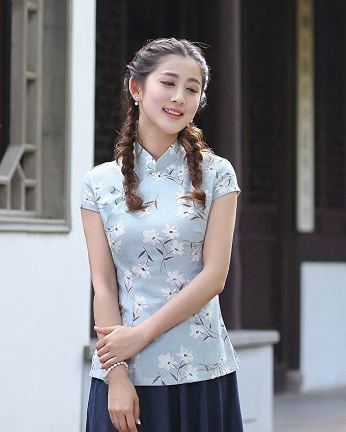 YueLian Mujeres Verano Diario Modificado Manga Corta Talla 36-44 Traje Chino Blusa China Top Azul Celeste (XXXL): Amazon.es: Ropa y accesorios