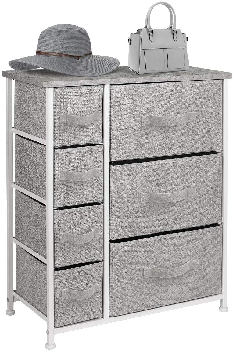 Sorbus Dresser with Drawers – Furniture Storage Tower Unit for Bedroom, Hallway, Closet, Office Organization – Steel Frame, Wood Top, Easy Pull Fabric Bins Gray
