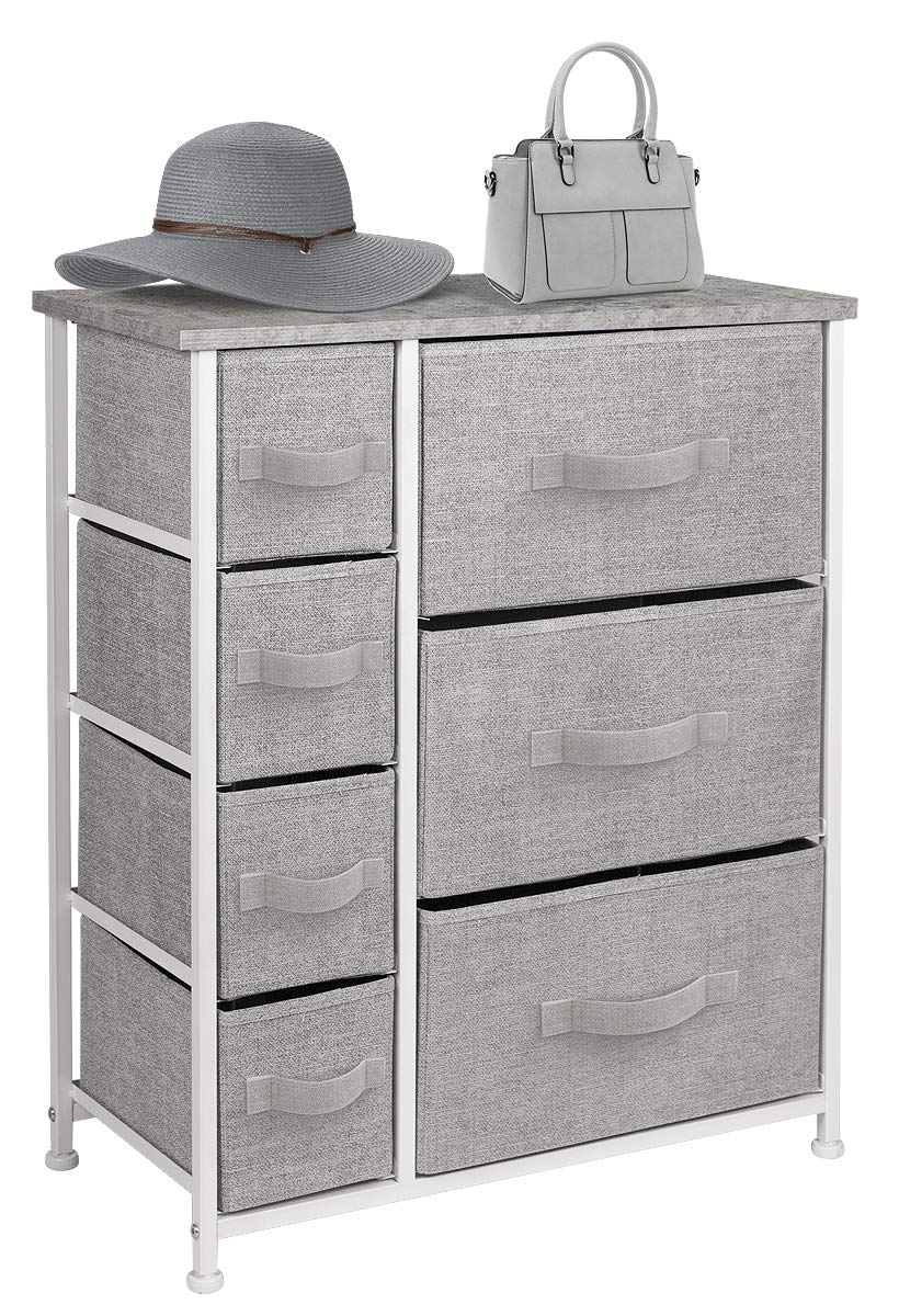 Sorbus Dresser with 7 Drawers - Furniture Storage Tower Unit for Bedroom, Hallway, Closet, Office Organization - Steel Frame, Wood Top, Easy Pull Fabric Bins (Gray)
