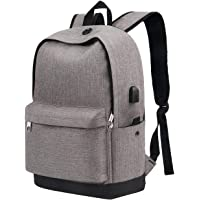 """School Backpack for Teen Girls, College Student Bookbag with USB Charging for Boys Men Women, Water Resistant Anti Theft Computer Bag, Casual Daypack for Weekend Travel Outdoor Fit 15.6"""" Laptop, Grey"""