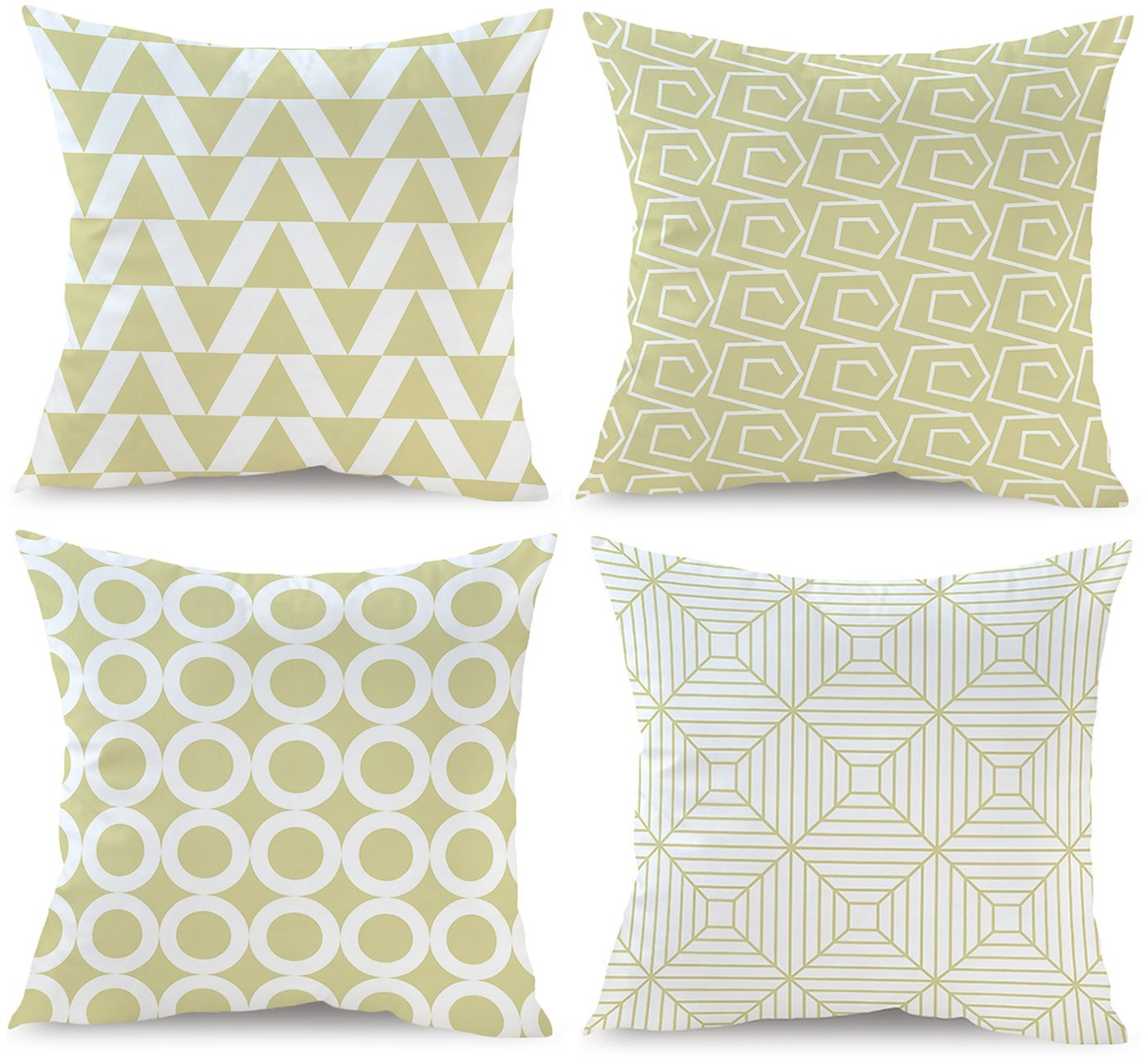 BLUETTEK Simple Decorative Throw Pillow Covers Set of 4 18 x 18 Inches, Triangle, Rings, Squares Design, Soft Velvet Accent Cushion Cases 45cm x 45cm for Couch Sofa Bed (Light Yellow)