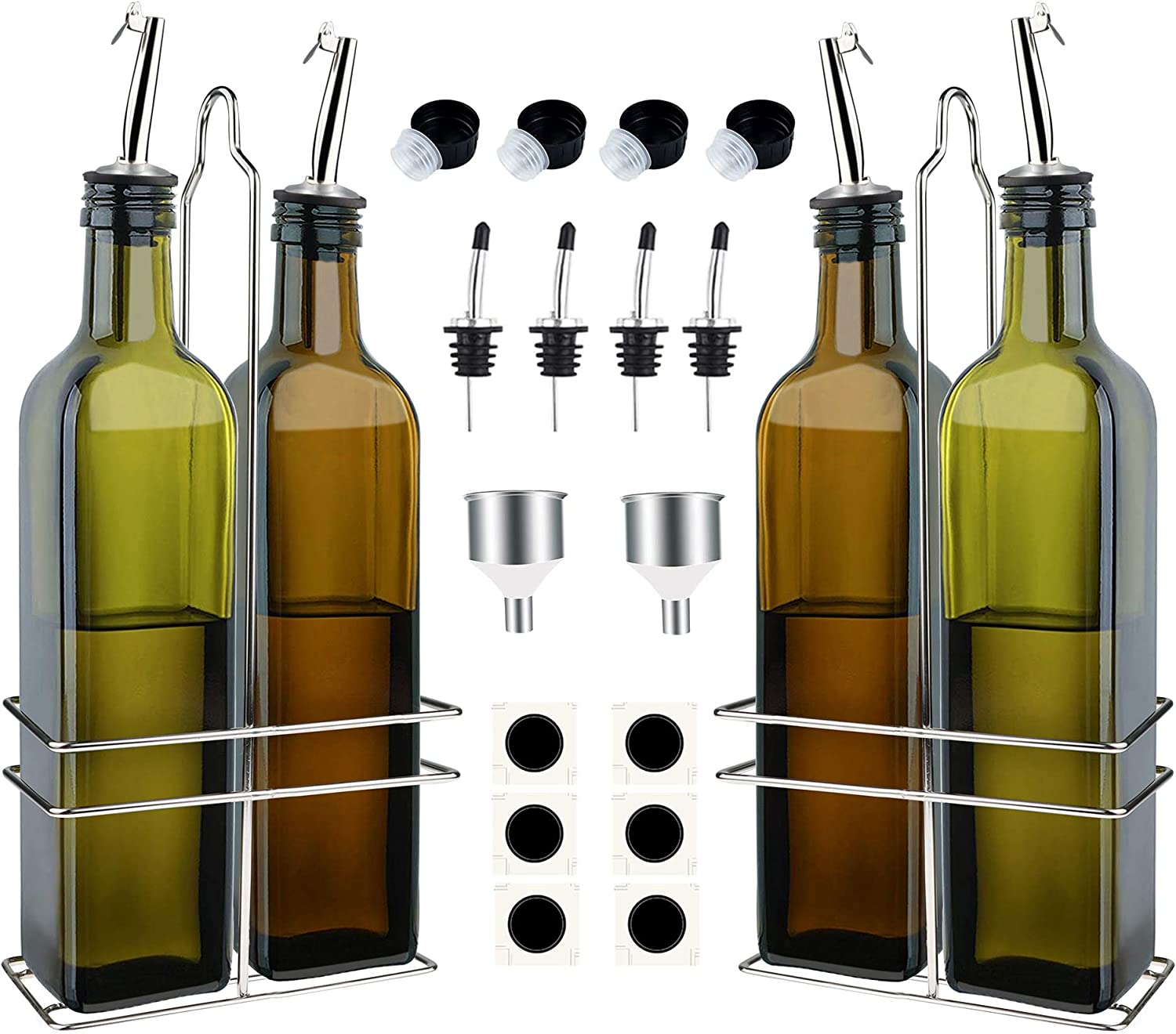 Oil Dispenser, 4 Pack Olive Oil Dispenser Bottle for Kitchen, 17oz Leak Proof Oil and Vinegar Cruet Set with Stainless Steel Rack, Spouts and Funnels and Labels (4 Bottles 500ml, Green and Brown)
