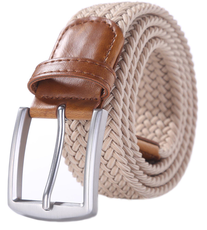Weifert Men's Stretch Woven 1.3'' Wide Elastic Braided Belts (34-37, Khaki)