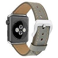 Cinturino per Apple Watch 38mm 42mm Vintage in Vero Cuoio Silicone Ricambio iwatch Cinghia Larga Fibbia in Acciaio Inossidabile per Apple Watch Series 2, Series 1, Edizione Sport, Grigio