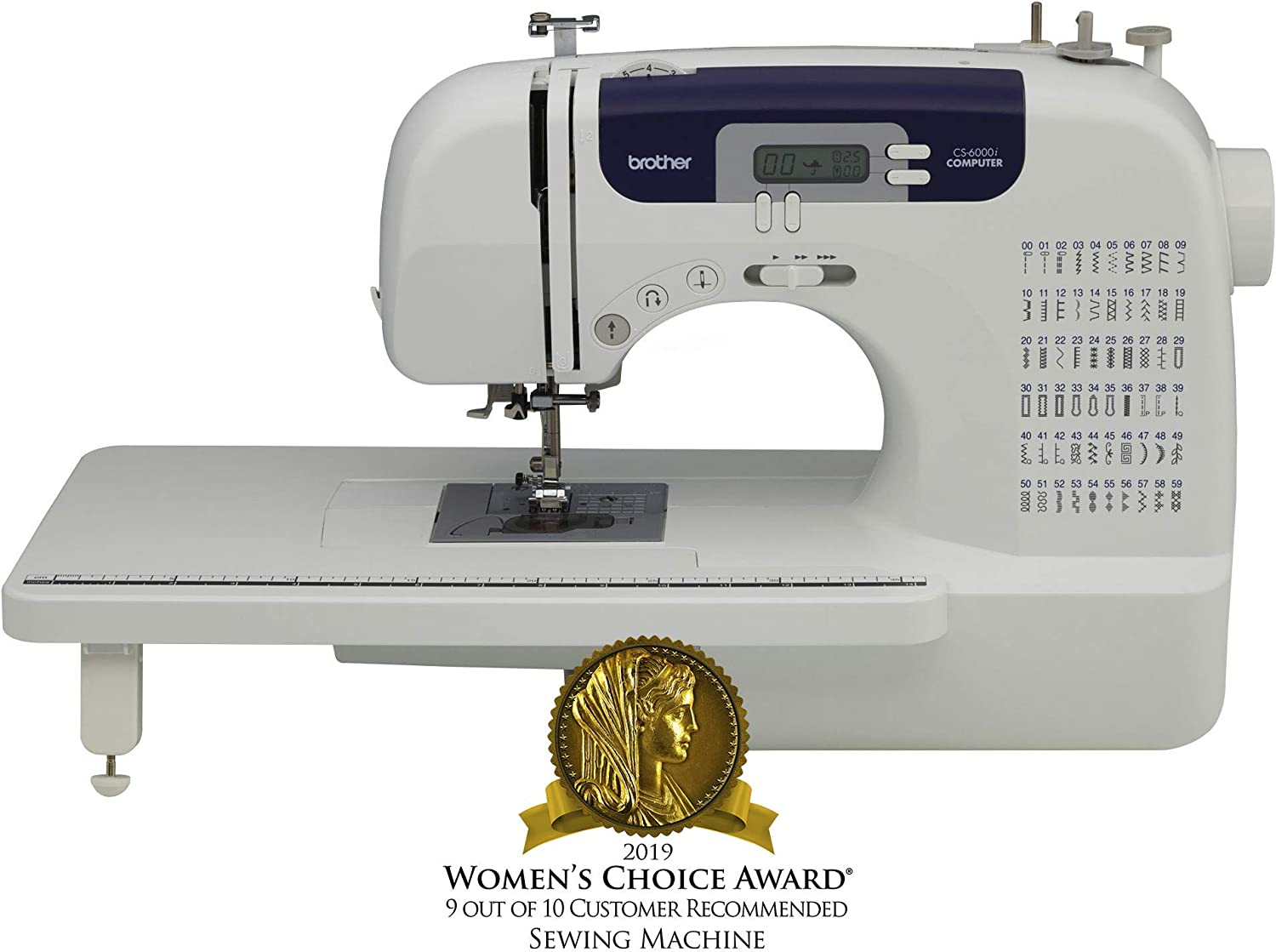 Brother Sewing and Quilting Machine, CS6000i, 60 Built-In Stitches, 7 styles of 1-Step Auto-Size Buttonholes