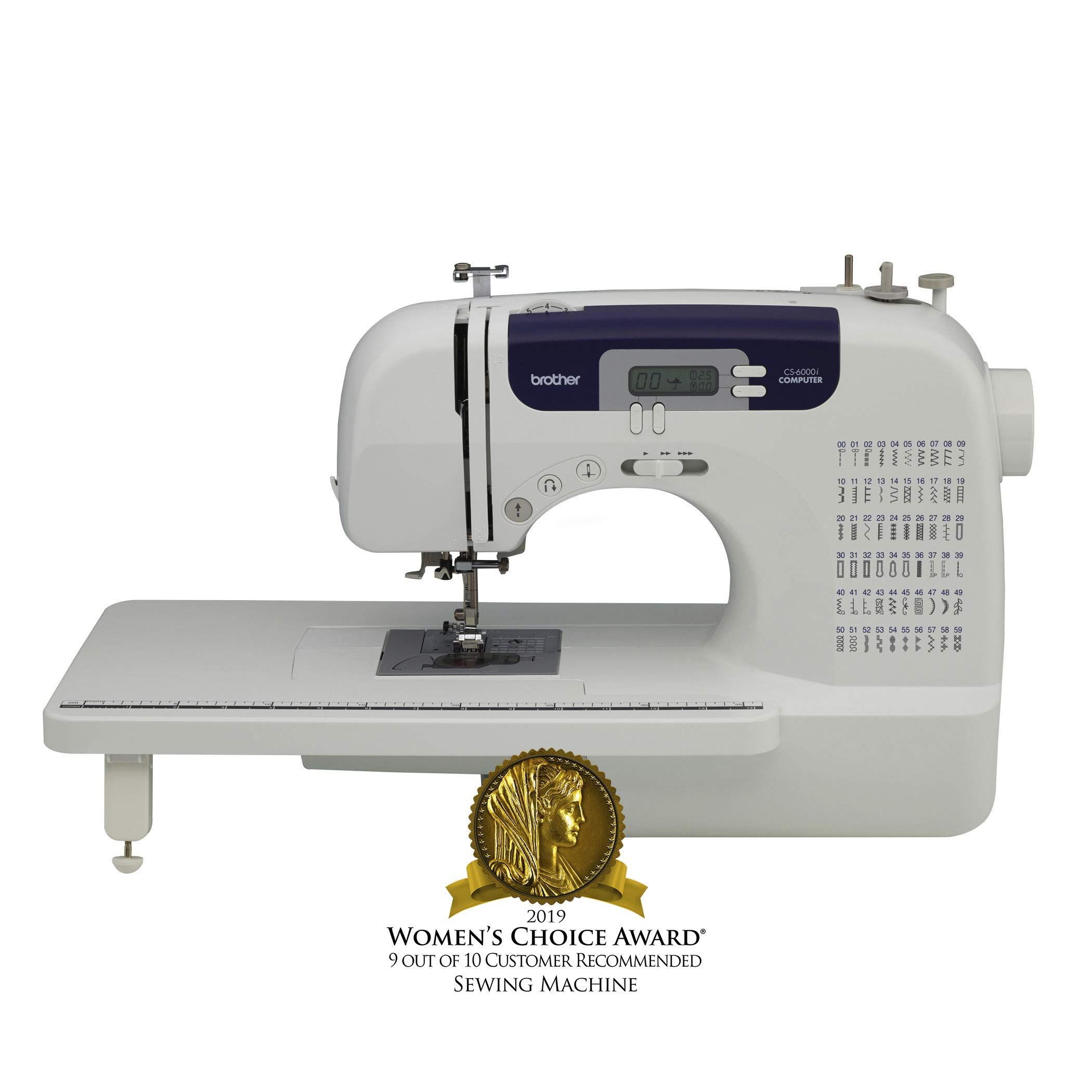 Brother Sewing and Quilting Machine, CS6000i, 60 Built-In Stitches, 7 styles of 1-Step Auto-Size Buttonholes, Wide Table, Hard Cover, LCD Display and Auto Needle Threader by Brother
