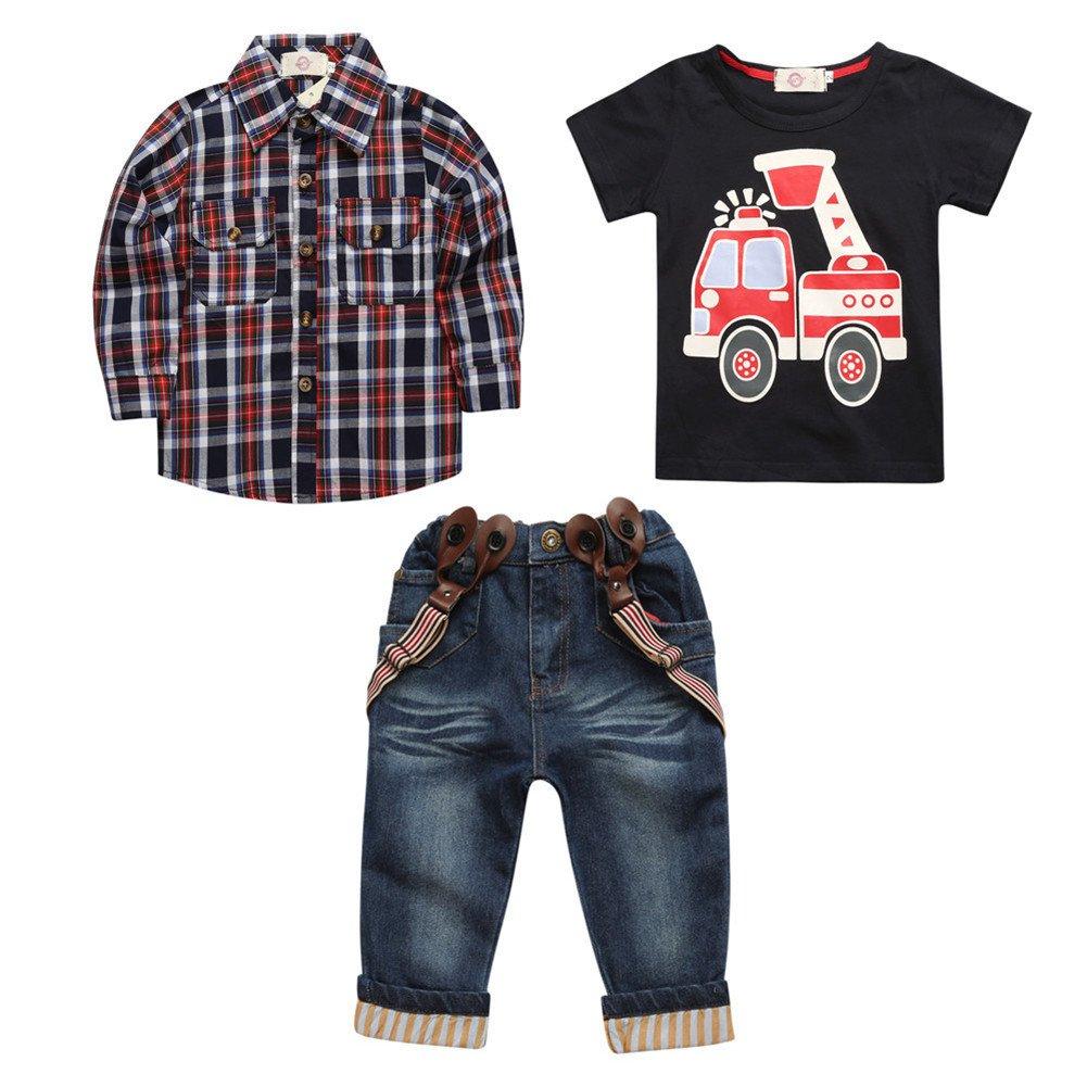 Decstore Ragazzi Auto Stampare Maglietta+Lungo Jeans I pantaloni+Manica Lunga Plaid Camicia 3pcs Set di vestiti del