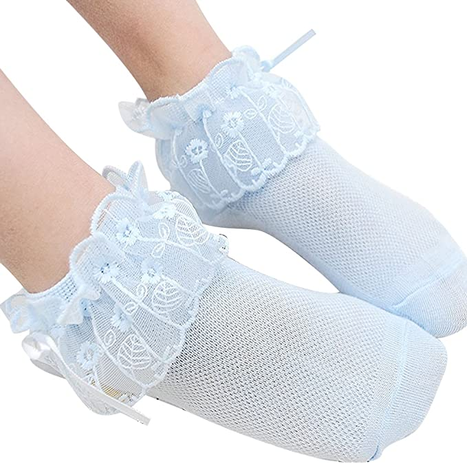 Baby Newborn Girls Summer Lace Ruffles Socks Frilly Mesh Princess Ankle Socks