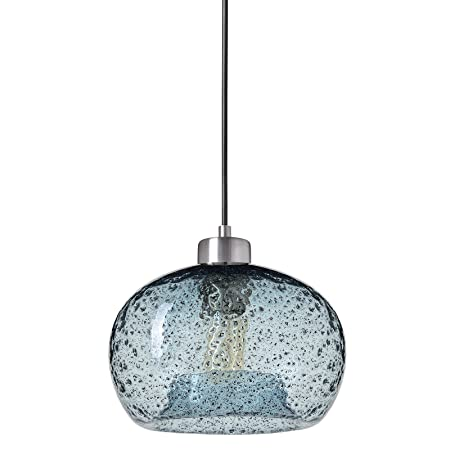 Casamotion Pendant Light Handblown Glass Drop Ceiling Lights, Rustic Hanging Light Seeded Glass with Black Sand Powder Brushed Nickel, Light Blue