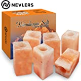 """Nevlers All Natural Handcrafted Pink Himalayan Salt Shot Glasses - Unique SQUARE Shape - Great for Tequila Shots - Set of 6 Pieces - 3"""" Tall Shot Glasses – Made from 100% Himalayan Salt"""