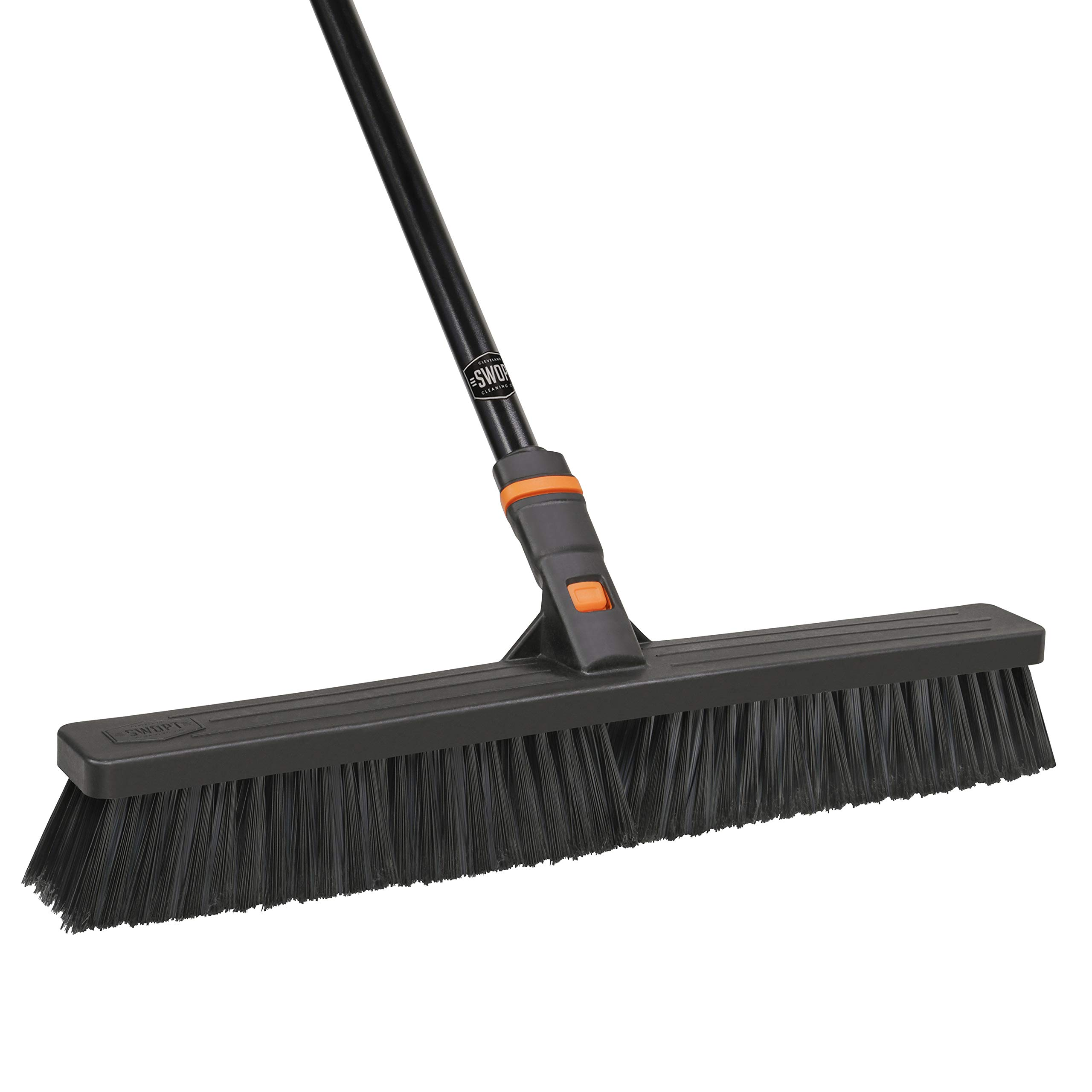 24'' SWOPT Multi-Surface Standard Push Broom - 60'' Steel Handle - Interchangeable Handle Works with Other SWOPT Cleaning Products - Great for Indoor and Outdoor Applications by Swopt