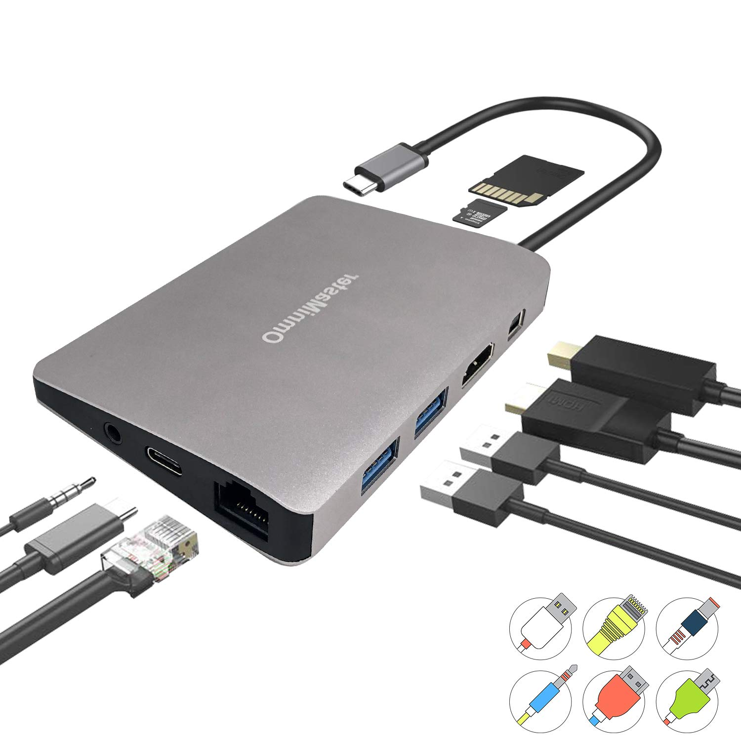 (Latest Gen) OmniMaster 9 in 1 USB C Hub with PD 2.0 Charging Port, 1000M RJ45 Ethernet, 4K HDMI, Mini DP, USB 3.0 Ports, Card Reader, Audio/Mic Port for MacBook, Surface Book, Chromebook, Matebook