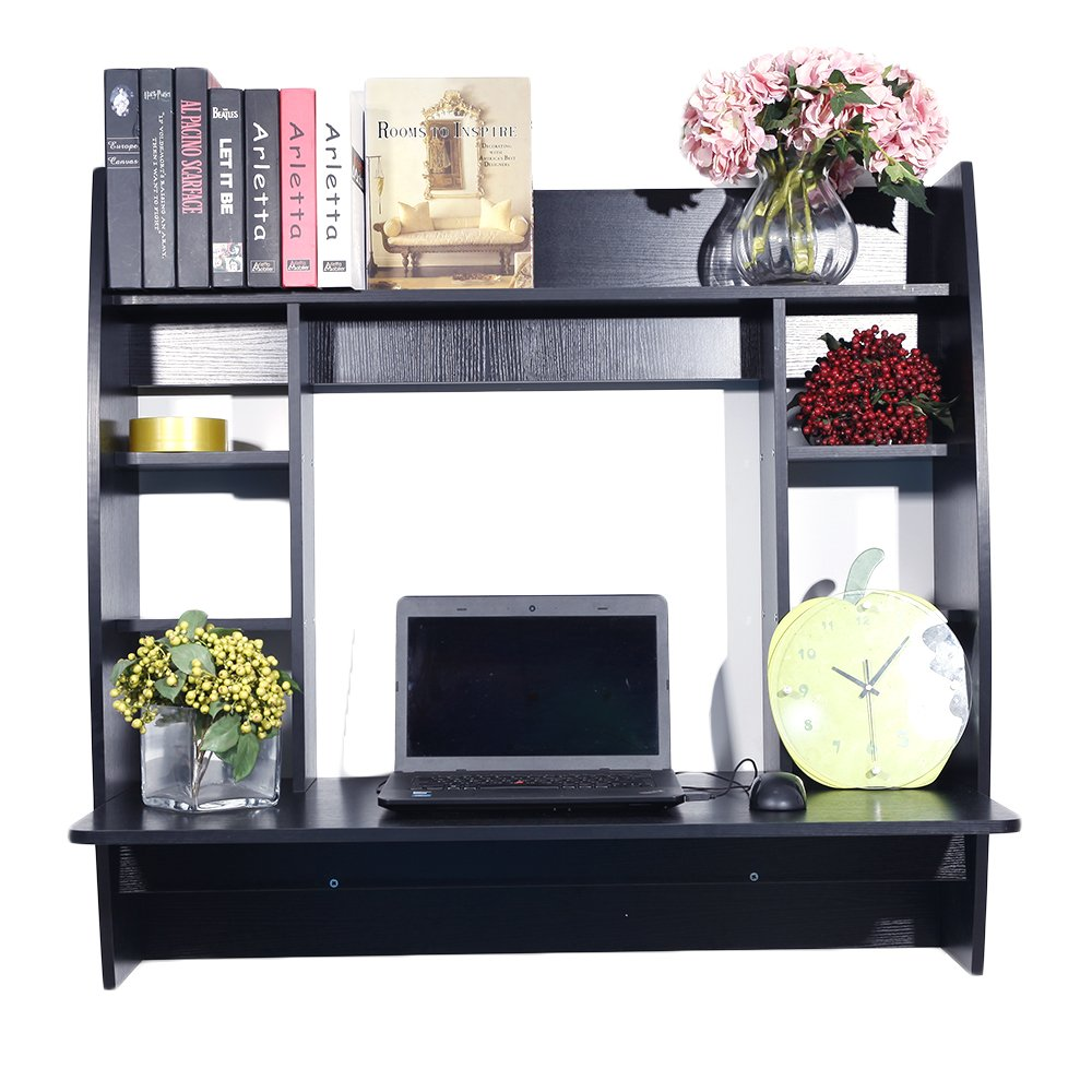 Black Exquisite Room-Saving Wall Built-up Computer Desk