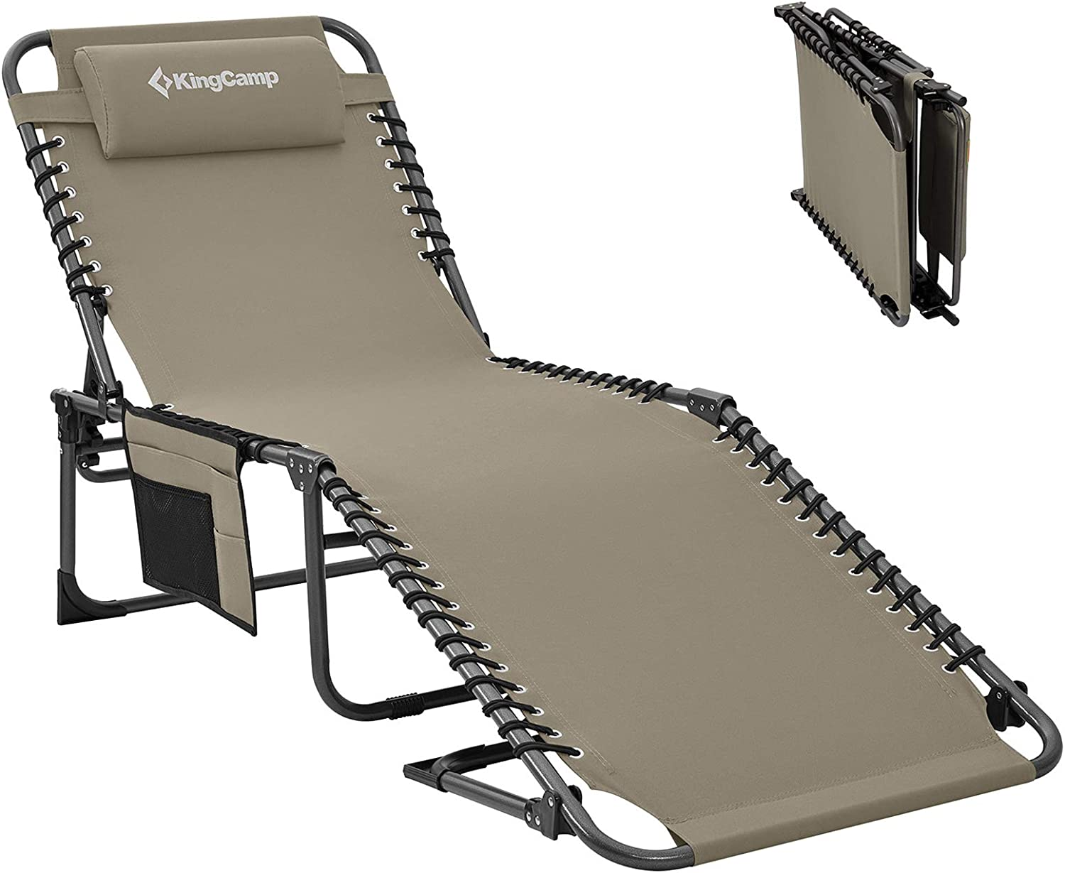KingCamp 4-Fold Outdoor Folding Chaise Lounge Chair for Beach, Sunbathing, Patio, Pool, Lawn, Deck, Portable Lightweight Heavy-Duty Adjustable Camping Reclining Chair with Pillow, Gray