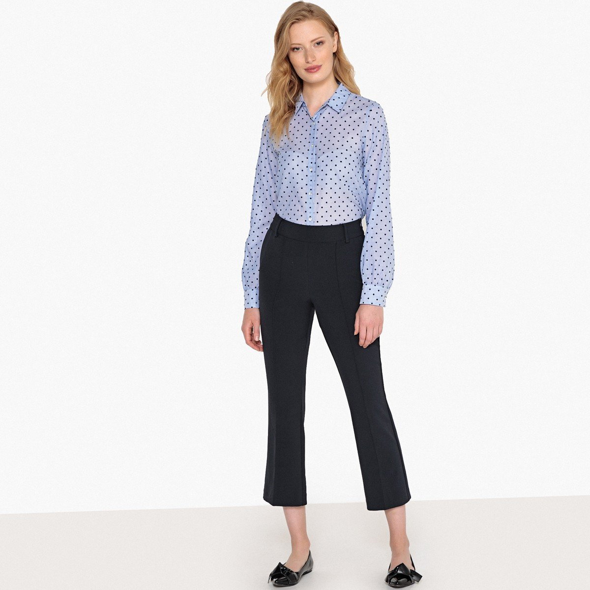 bf352674dc9 La Redoute Collections Womens Textured Polka Dot Long-Sleeved&Nbsp;Shirt  Blue Size US 18 - FR 48 at Amazon Women's Clothing store: