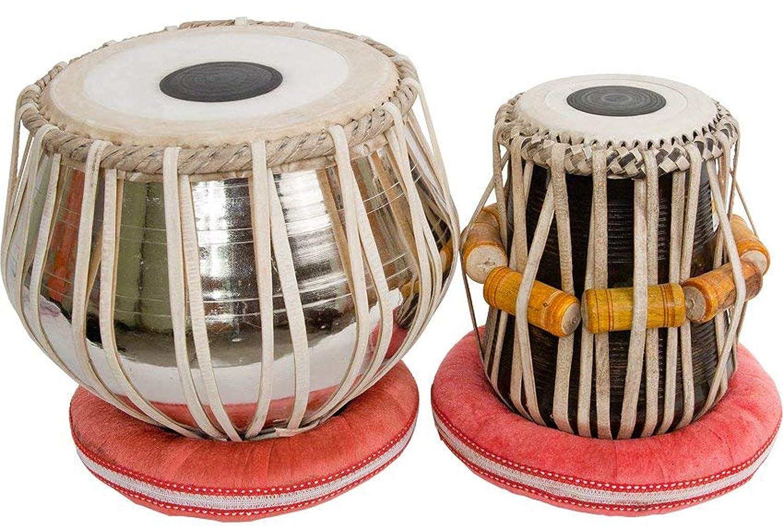 Makan Nickel Bayan & Dayan Tabla Set, Hammer Percussion Musical Instrument with Carry Bag & Cushion   B07QFVH4H6