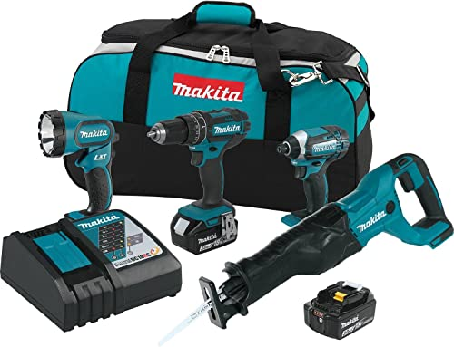 Makita XT440 18V LXT Lithium-Ion Cordless 4-Pc. Combo Kit 3.0Ah