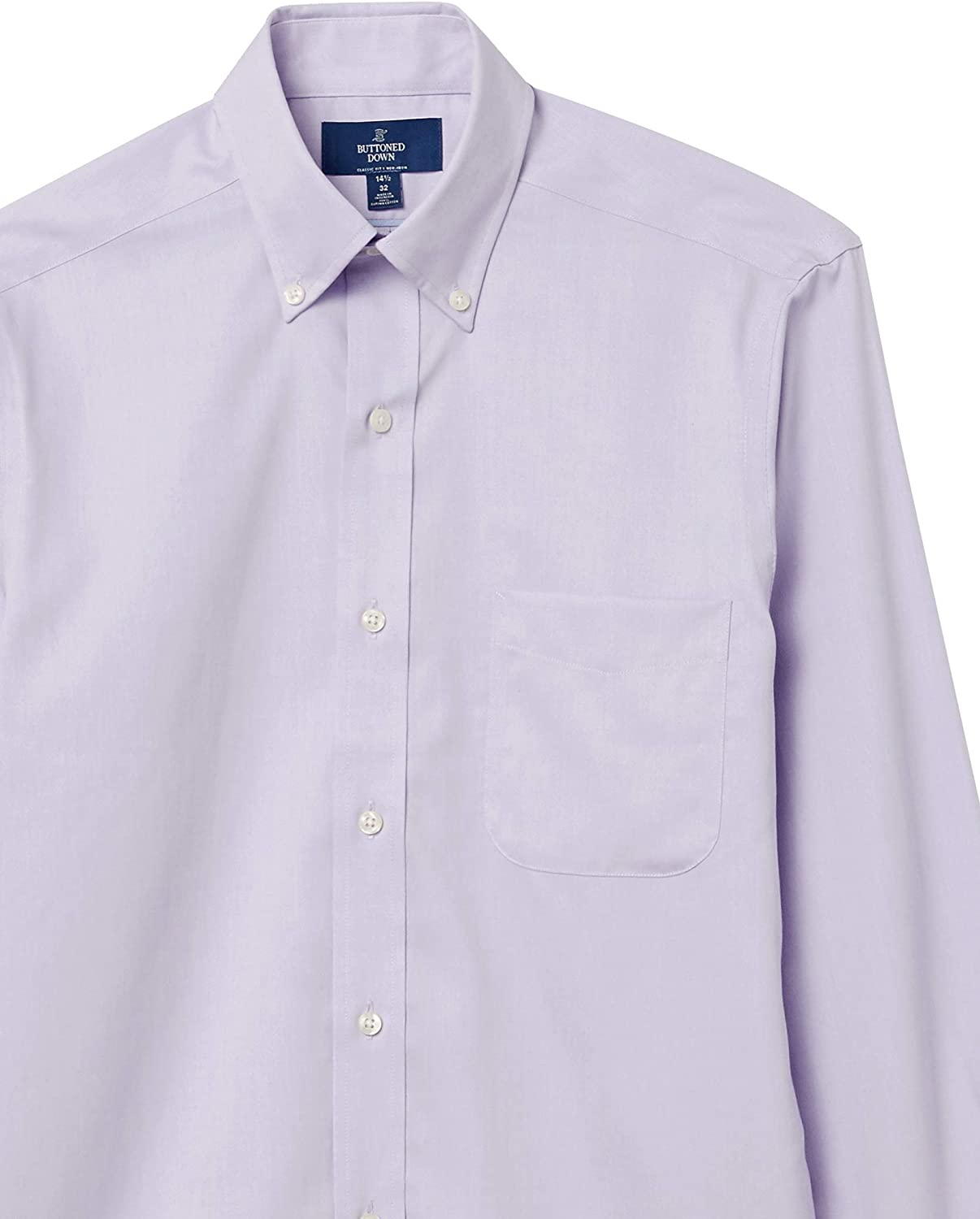 Marca Amazon - Buttoned Down Classic Fit Button Collar Solid Pocket Options Hombre