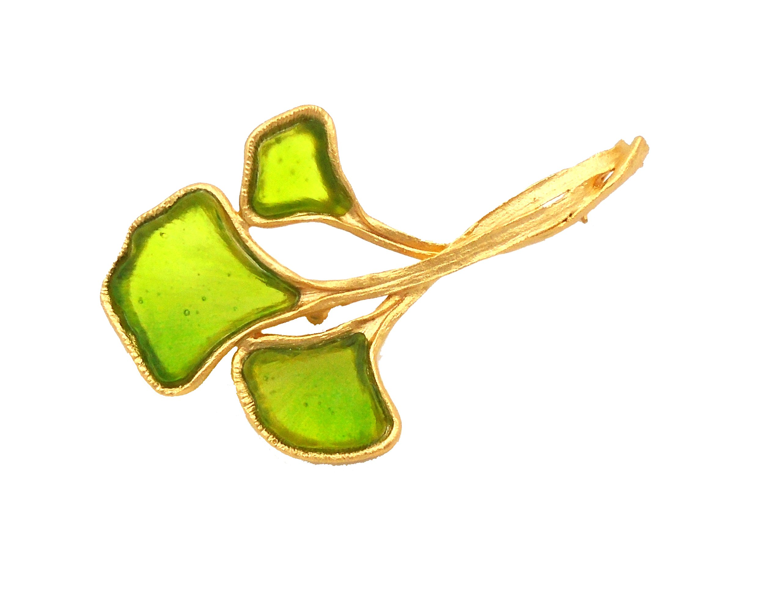 Michael Vincent Michaud- Glass ''Gingko Pin/Brooch'' in Green by Michael Vincent Michaud