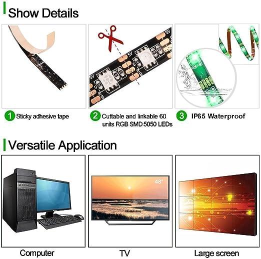 ALED LIGHT® LED retro TV 100 cm 60LEDs Bias Light, tiras LED ...