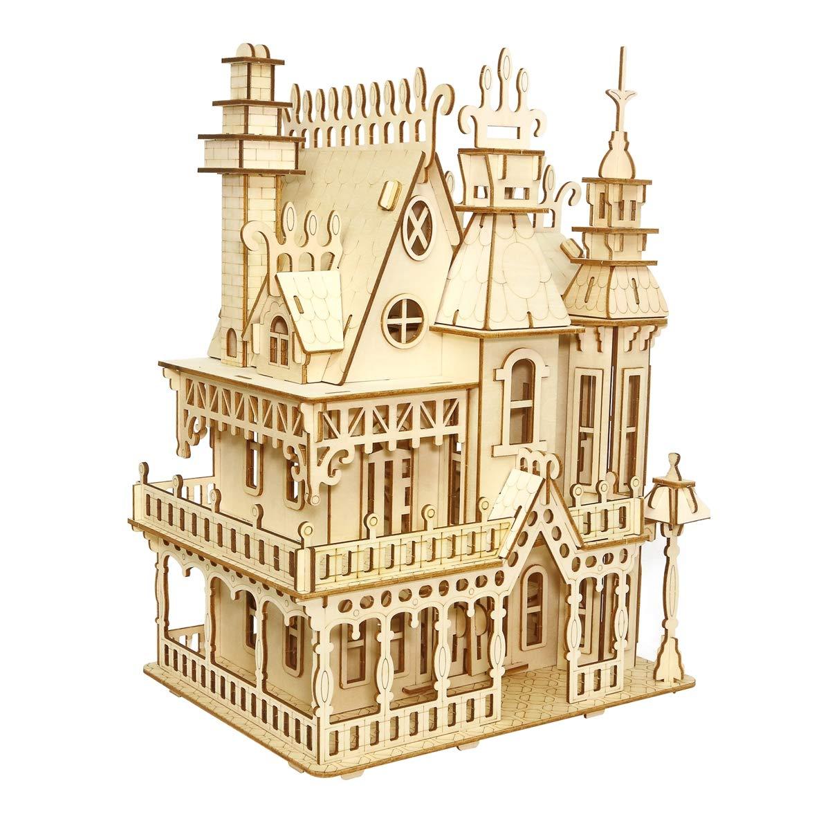 LSQR DIY Holz 3D Jigsaw Handmade Puzzle Toys, Fantasy Villa Model dreidimensionale Simulation Educational Toys, Kinder Geburtstag